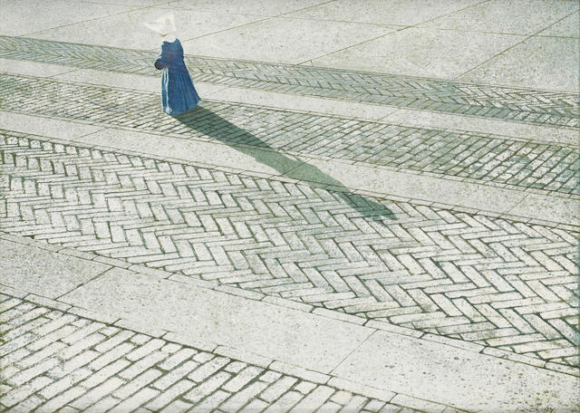 Robert Remsen Vickrey (1926-2011) Nun Walking a Brick Road 15 7/8 x 21 7/8in