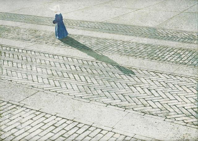 Robert Remsen Vickrey (1926-2011) Nun Walking a Brick Road 15 7/8 x 21 7/8in
