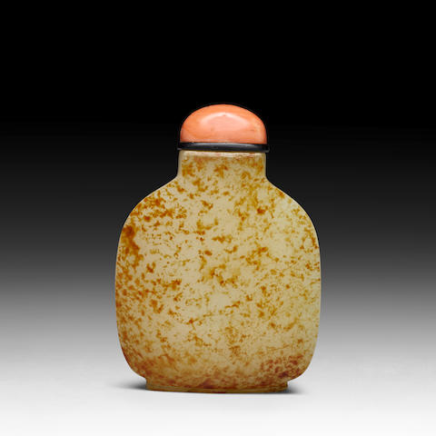 WHITE AND RUSSET JADE SNUFF BOTTLE 1750-1800