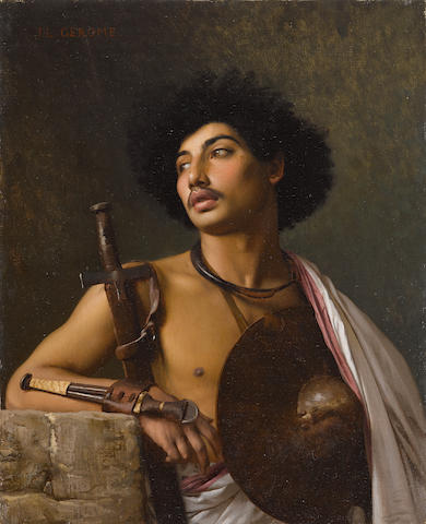 Jean-Léon Gérôme (French, 1824-1904) A Bischari warrior 16 x 13in (40.6 x 33cm)