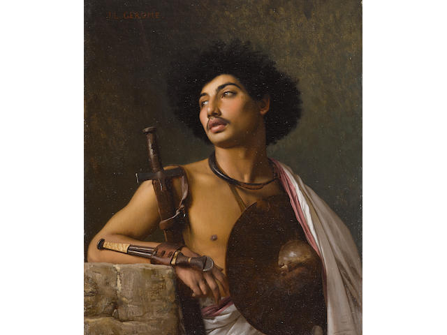 Jean-Léon Gérôme (French, 1824-1904) A Bischari warrior 16 x 13in (40.6 x 33cm)