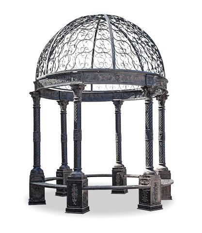 A cast iron and patinated metal gazebo