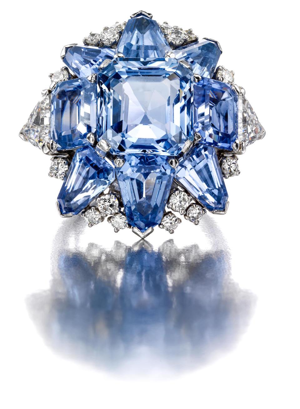 A sapphire and diamond ring, Oscar Heyman,