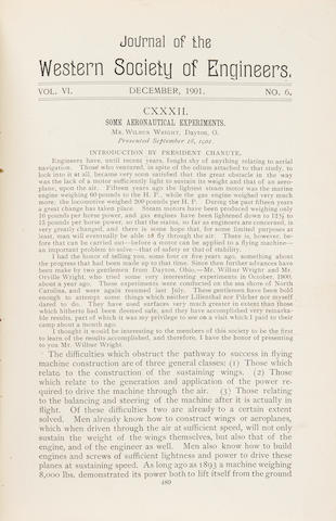 FIRST PUBLICATION OF WILBUR WRIGHT'S ADDRESS ON AERONAUTICS
