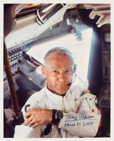 ARMSTRONG SNAPS ALDRIN INSIDE THE LUNAR MODULE SIGNED