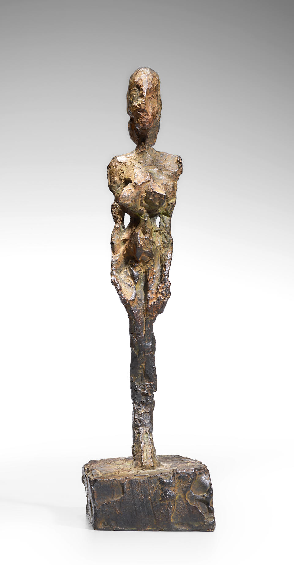 Alberto Giacometti (1901-1966) Figurine [Femme debout au chignon] 8 7/8 in (22.3 cm) (height) (Conceived circa 1953-1954 and cast in 1980 in an edition of eight plus one artist's proof)