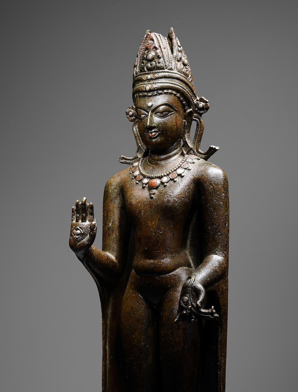 THE SONNERY KURKIHAR BUDDHACOPPER ALLOY WITH SILVER AND COPPER INLAY KURKIHAR, PALA PERIOD, 11TH CENTURY