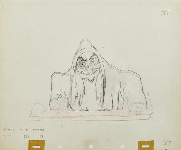 An animation drawing of the witch from Snow White and the Seven Dwarfs