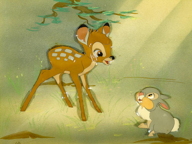 A celluloid of Bambi and Thumper from Bambi