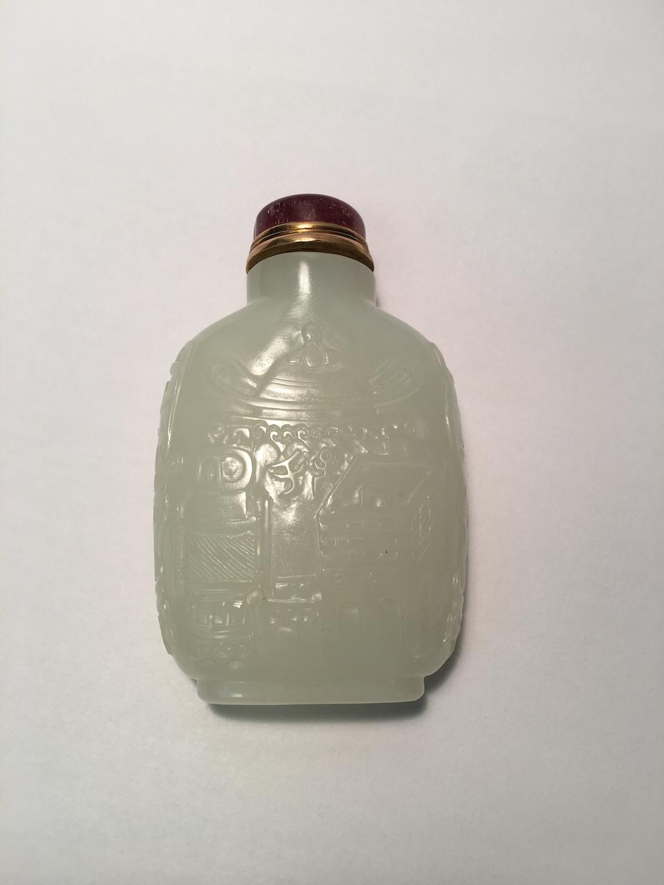 A WHITE JADE 'BRONZE RITUAL VESSELS' SNUFF BOTTLE 1750-1800, Probably imperial, attributed to the Palace Workshops