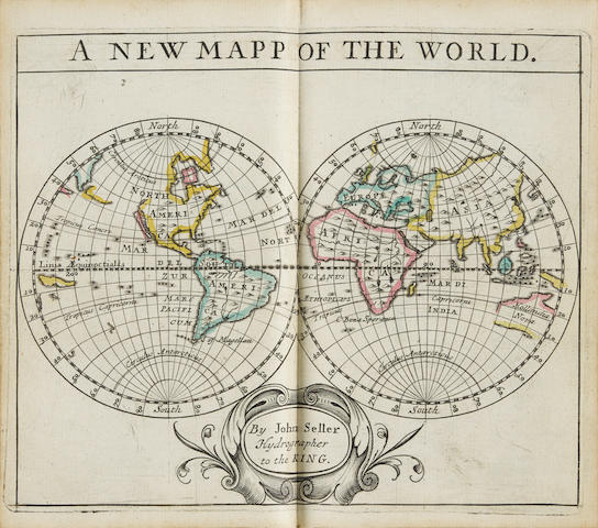 SELLER, JOHN. Fl.1658-1698 A New Systeme of Geography, designed in a most plain and easy method, for the better understanding of that science. Accommodated with new mapps, of all the ... countreys in the whole world.                                                           [London]:  Sold at his shop on the West-side of the Royal Exchange,  [1685].