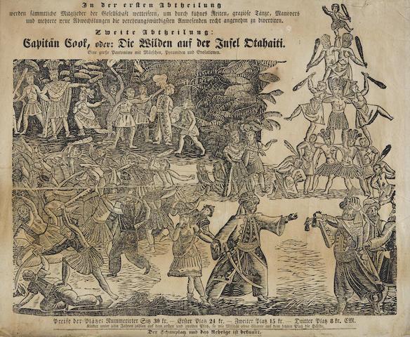COOK IN TAHITI: PLAYBILL. Capitän Cook, oder Die Wilden auf der Insel Otahaiti, eine grosse Pantomime mit Märschen, Pyramiden und Evolutionen. [Germany, c.1840.]
