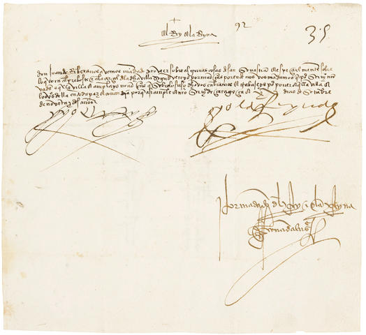 "FERDINAND V, KING OF SPAIN. 1452-1516; AND ISABELLA I, QUEEN OF SPAIN. 1451-1504. Letter Signed (""Yo el Rey"" and ""Yo la Reyna""), 1 p, docketed to the verso,"