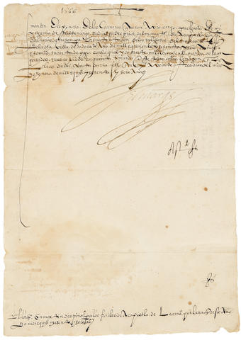 "CORTES, MARTIN. 1532–1589. Autograph Letter Signed (""El Marques""), 1 p, docketed to the verso with a note,"