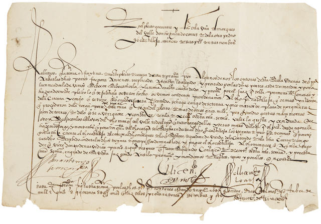 "CORTES, HERNAN. 1485-1547. Manuscript Document Signed (""Antonio de Mendoza""),"