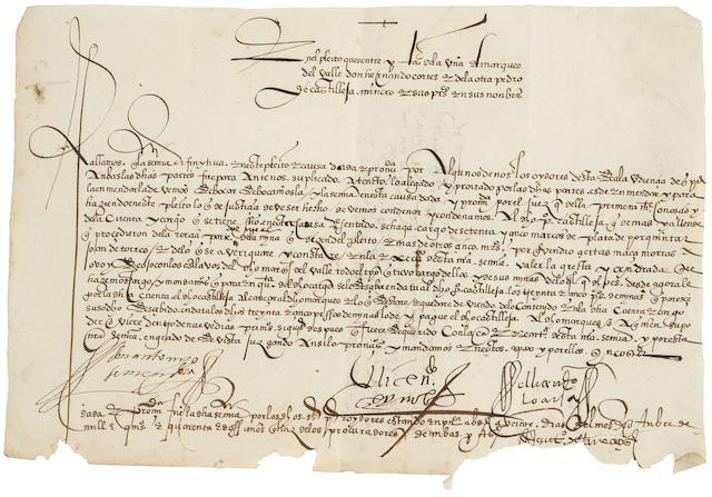"CORTES, HERNAN. 1485-1547. Manuscript Document Signed (""Antonio de Mendoza""),"