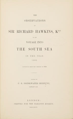 HAKLUYT SOCIETY (publishers).  Works issued by the Hakluyt Society. London: for the Hakluyt Society, 1847-1958.