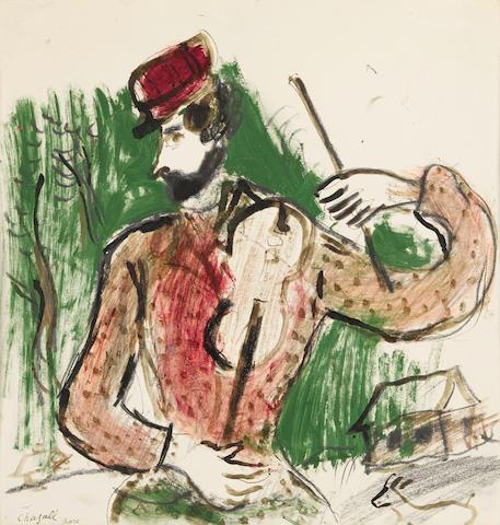 Marc Chagall (1887-1985) Violoniste devant la forêt 11 1/4 x 10 1/2 in (28.5 x 27.3 cm) (Drawn circa 1923)