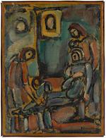 GEORGES ROUAULT (1871-1958) Le juste, comme le bois de santal, parfume la hache qui le frappe 22 3/4 x 17 1/4 in (57.8 x 44.3 cm) (Painted circa 1930-39)