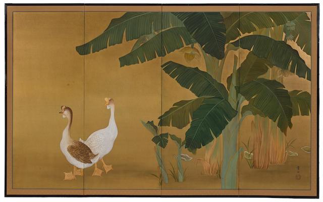 Nomura Sekko (1875-?) Geese and Plantain TreesTaisho era