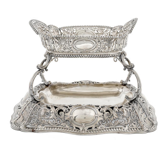 A Victorian sterling silver two-tier rectangular center bowl by Richard Martin & Ebenezer Hall, Sheffield,  1895