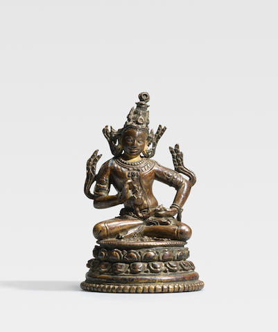 A COPPER AND SILVER INLAID COPPER ALLOY FIGURE OF AVALOKITESHVARA PADMAPANI NORTHEASTERN INDIA, PALA PERIOD, 11TH/12TH CENTURY