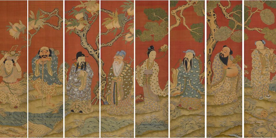 A set of eight kesi woven silk panels depicting each of the eight immortals Late Qing dynasty
