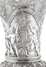 A large Victorian  sterling silver  'Bacchic' presentation vase of Welsh colliery interest by Charles Frederick Hancock, London,  1877