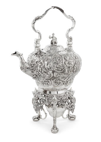 A Victorian  sterling silver Chinoiserie-decorated kettle-on-stand by R&S Garrard & Co., London,  1877