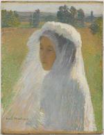 HENRI MARTIN (1860-1943) La communiante 18 1/2 x 14 1/4 in (46.5 x 35.2 cm) (Painted in 1891)