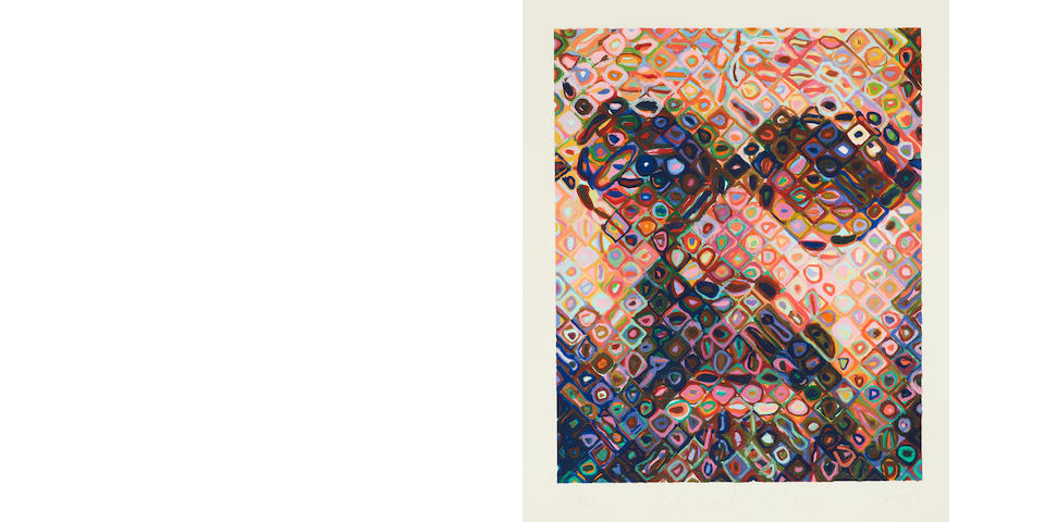 Chuck Close (born 1940); Self-Portrait (Woodcut);