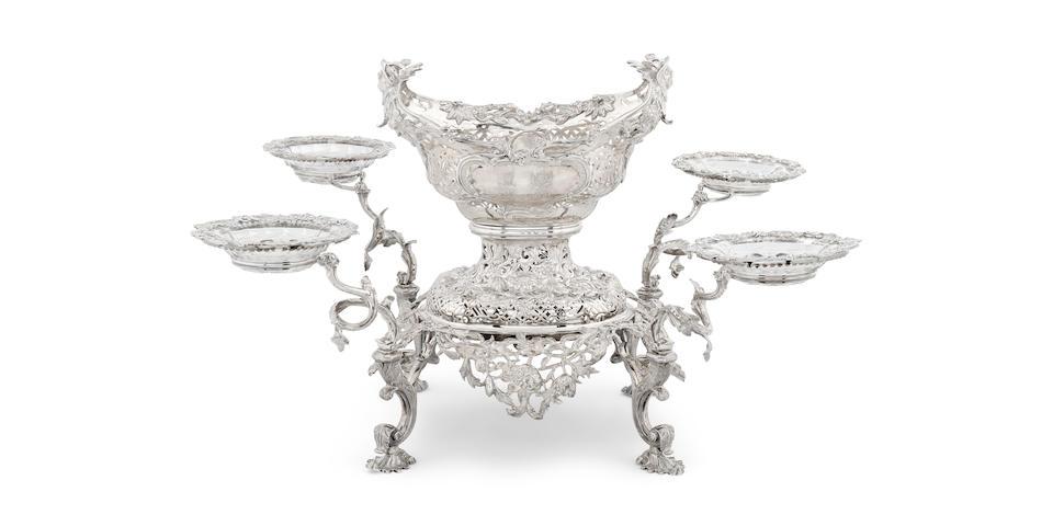 A George II sterling silver five-basket épergne probably by (Charles I) Frederick Kandler, London, 1758