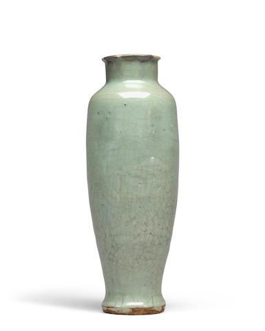 Bonhams A Longquan Celadon Baluster Vase Ming Dynasty