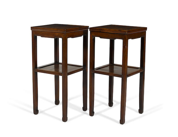 A PAIR OF HUANGHUALI STANDS Mid-Qing dynasty