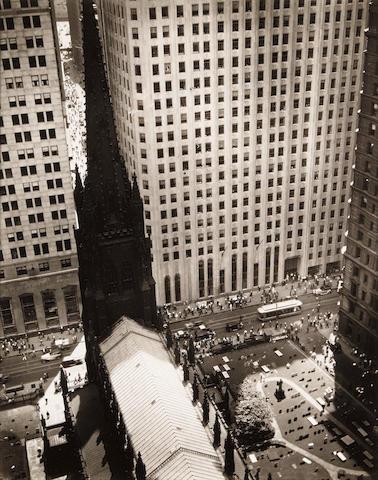 Berenice Abbott (1898-1991); Trinity Church and Wall Street Towers;
