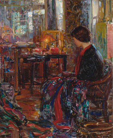 Joseph Kleitsch (1882-1931) The Oriental Shop (or The Jade Shop) 32 1/4 x 26 1/4in overall: 40 1/2 x 34 3/4in (Painted in 1925)