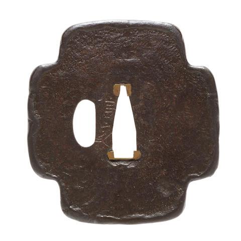 Nobuie (active circa 1600) An iron tsubaMomoyama period (1573-1615), early 17th century