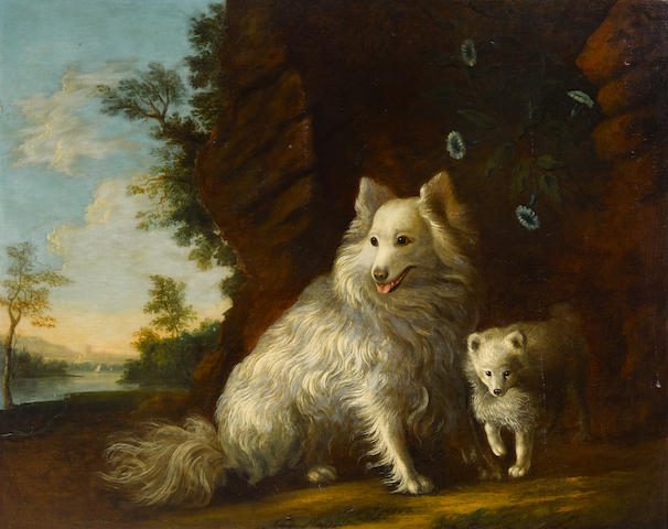 After Thomas Gainsborough (British, 1727-1788) Pomeranian and Puppy 40 x 50in (101.6 x 127cm)