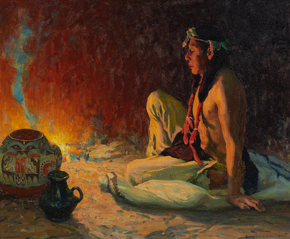 Eanger Irving Couse (1866-1936) Fireside Meditation  24 1/4 x 29 1/8in overall: 30 3/4 x 35 1/2in (in the artist's frame) (Painted circa 1928-1929)