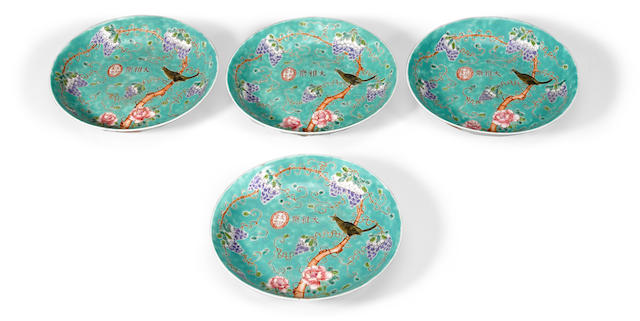 A group of four turquoise ground dishes with famille rose enamel decoration Dayazhai marks, Republic period (4)