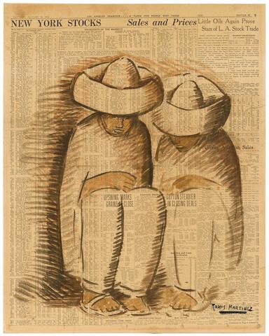ALFREDO RAMOS MARTÍNEZ (1871-1946) Dos figuras sentadas 21 3/8 x 17 in (54.8 x 43 cm)