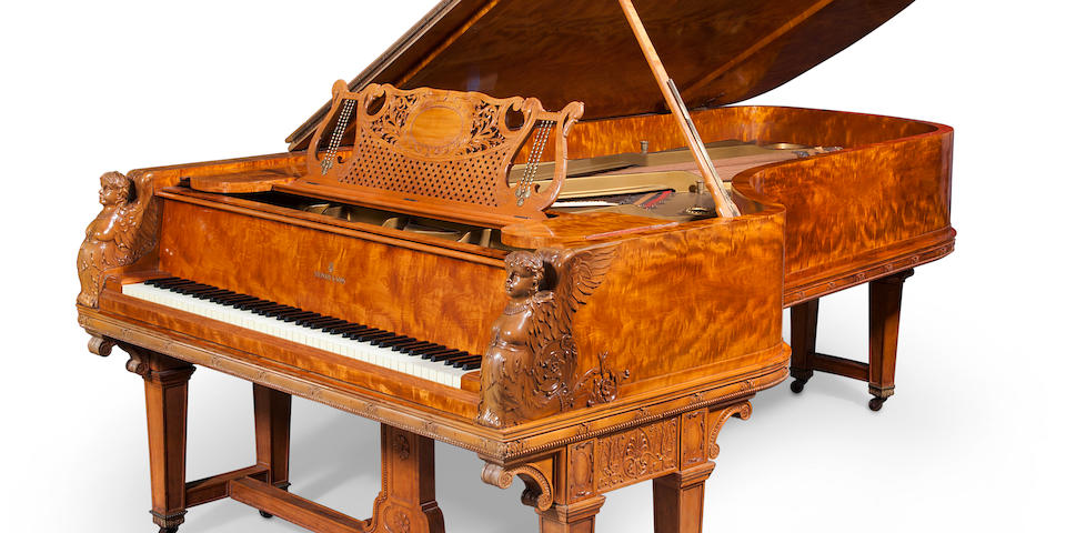 An important Steinway & Sons Neoclassical style parcel paint decorated carved satinwood concert grand piano Model D circa 1891