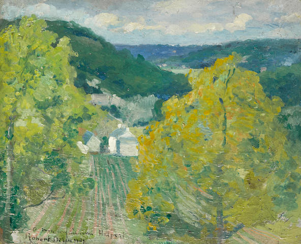 ROBERT DELAUNAY (1885-1941) Paysage de la vallée de Senlis 10 1/2 x 12 3/4 in (26.5 x 32.5 cm) (Painted in 1904)
