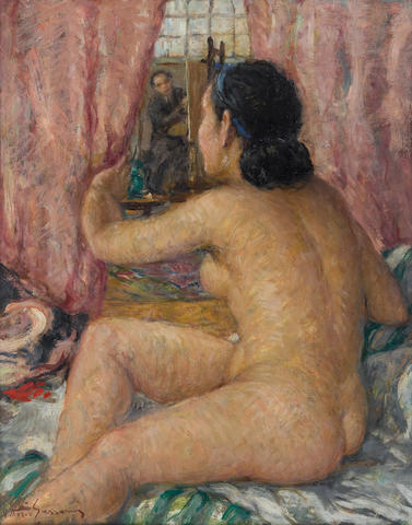 Vittorio Gussoni (Italian, 1893-1968) Nello studio del pittore 19 3/4 x 15 3/4in (50 x 40cm)
