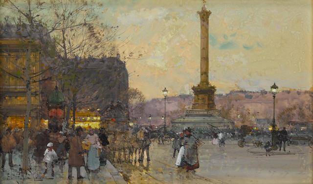 Eugène Galien-Laloue (French, 1854-1941) La Place de la Bastille image: 7 7/8 x 12 1/2in (20 x 31.8cm); sheet: 9 1/2 x 12 1/2in (24 x 31.8cm)