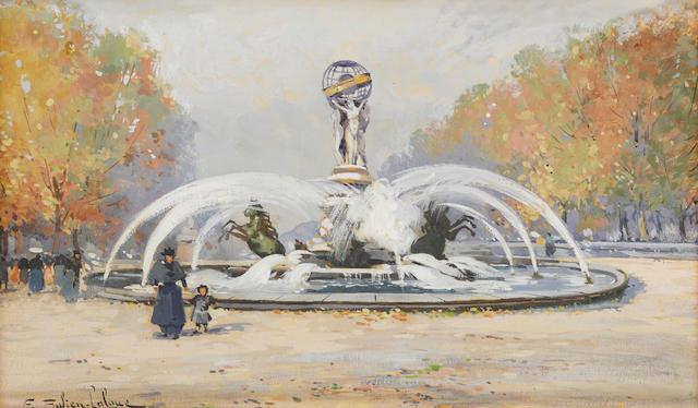 Eugène Galien-Laloue (French, 1854-1941) Le Jardin de L'Observatoire 7 7/8 x 13in (20 x 33cm)