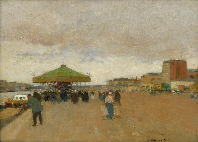 Luigi Loir (French, 1845-1916) Le caroussel 11 x 14in (28 x 35.5cm)