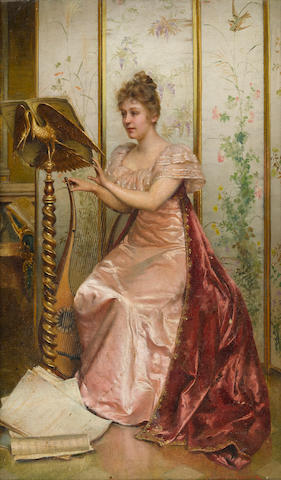 Frédéric Soulacroix (French, 1858-1933) A musical moment 16 1/2 x 10 1/2in (42 x 26.8cm)