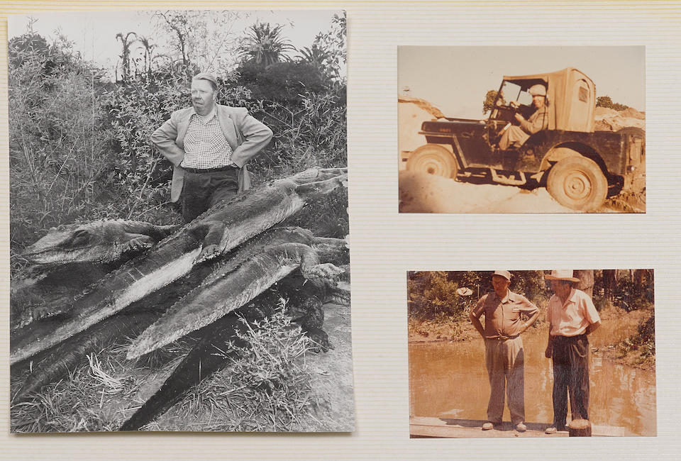 A Harper Goff photo album including early Disneyland drawings and annotated Jungle Cruise photographs, circa 1942-1951