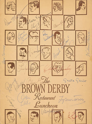 A Tyrone Power signed Brown Derby menu